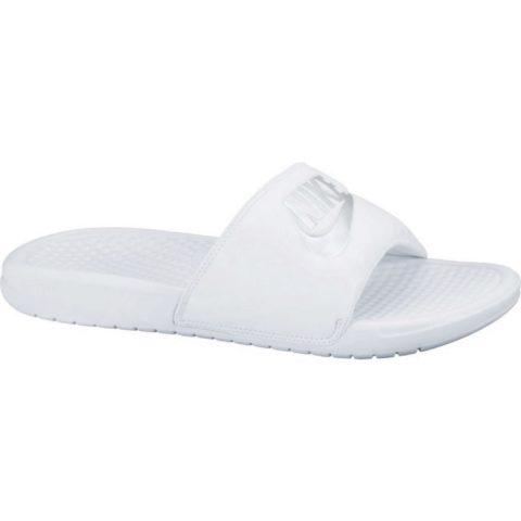"Nike Women's Nike Benassi ""Just Do It."" Sandal WHITE/METALLIC SILVER"