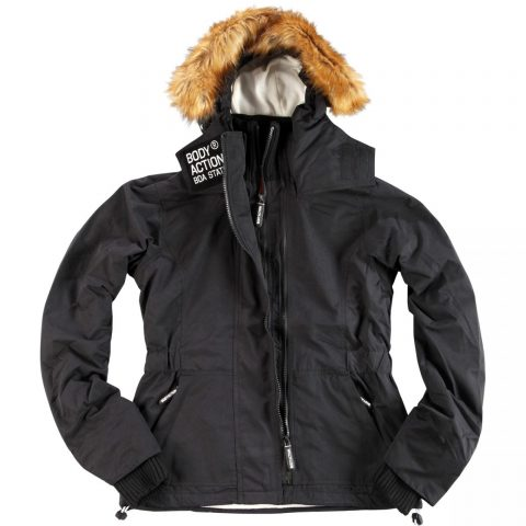 Body Action Body Action Women Fur Hooded Winter Jacket