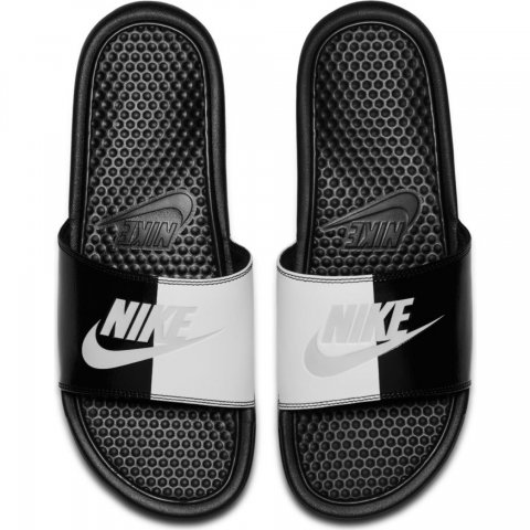 "Nike Men's Nike Benassi ""Just Do It."" Sandal BLACK-WHITE"
