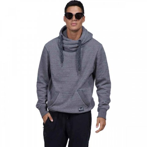 Body Action Body Action Men Crossover Hoodie (black-white)