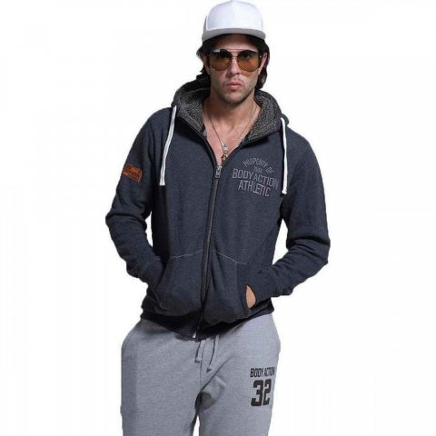 Body Action Body Action Men Zip Through Hoodie (d.mel grey)