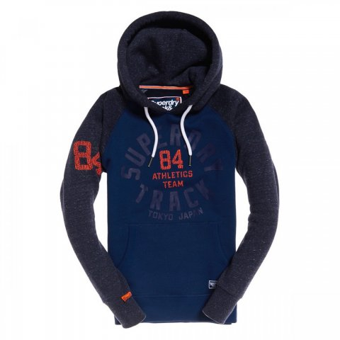 Superdry Superdry Track & Field Raglan Hood (Denim Blue Grit / Atlantic Navy Grit)