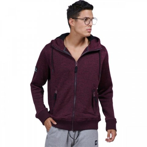 Body Action Body Action Men Thick Fleece Zip Hoodie (D.Maroon)