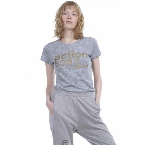 Body Action Body Action Women Logo Burnout T-Shirt (Grey)