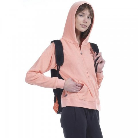Body Action Body Action Women Towel Hoodie Jacket (Coral)