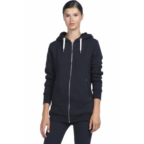 Body Action BODY ACTION WOMEN FUR LINED LONG  HOODIE - ΒLΑCΚ