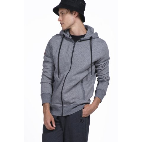 Body Action BODY ACTION MEN HOODED SWEAT JACKET - L.GRΕΥ