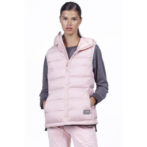Body Action BODY ACTION WOMEN WINTER VEST WITH HOODIE - SKIN