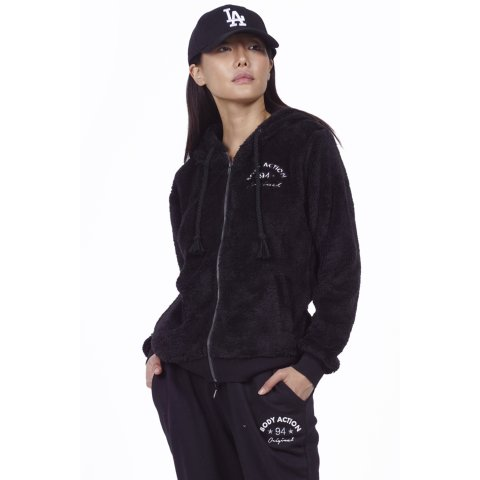 Body Action BODY ACTION WOMEN SHERPA HOODIE - BLACK