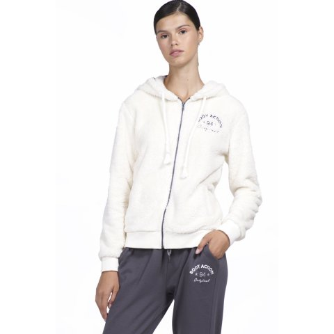 Body Action BODY ACTION WOMEN SHERPA HOODIE - OFFWHITE