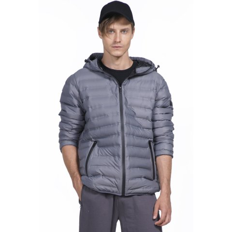 Body Action BODY ACTION MEN QUILT PADDED JACKET WITH HOODIE - GREY