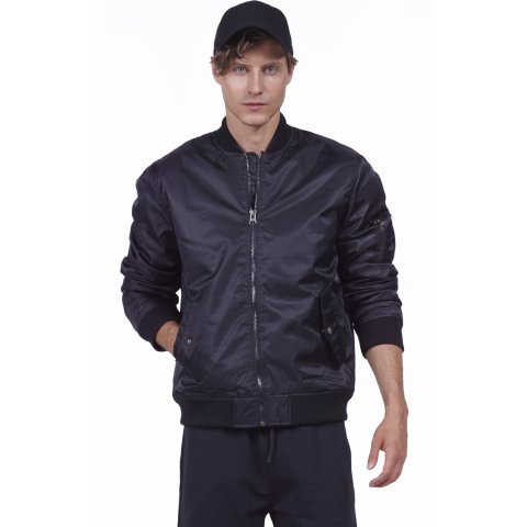 Body Action BODY ACTION MEN VINTAGE BOMBER JACKET - BLACK